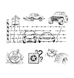 Funny sketches about cars and their accessories vector
