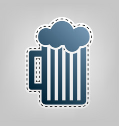 Glass of beer sign blue icon with outline vector