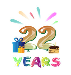 Happy 22nd anniversary celebration with gift vector