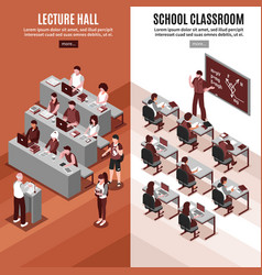 high school isometric vertical banners vector image vector image