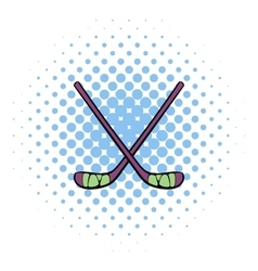 Hockey sticks icon comics style vector image vector image