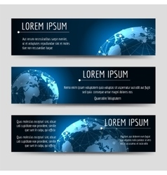 Horizontal banners template with earth sphere vector image