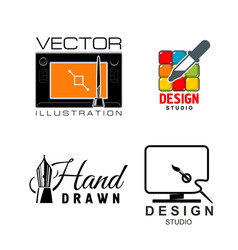 Icons for graphic design or designer studio vector