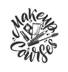 makeup courses logo hand drawn vector image