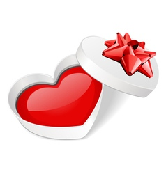 open gift heart with red heart vector image