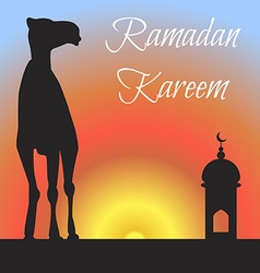 Ramadan greeting with camel Islamic greeting card vector image