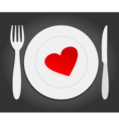 red heart dinner vector image vector image