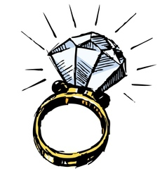 Ring with a big sparling diamond vector