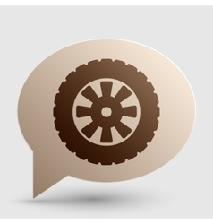 Road tire sign brown gradient icon on bubble with vector