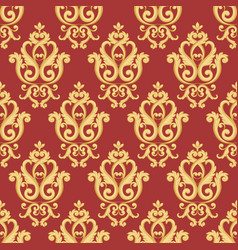 Seamless damask pattern gold and red texture vector
