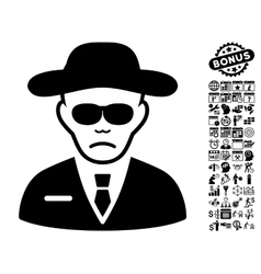 Security agent flat icon with bonus vector