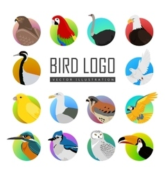 Set of bird logo vector