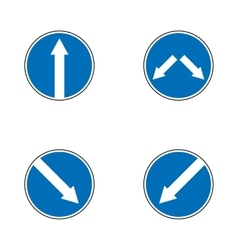 Set of variants arrow road sign isolated on white vector image vector image