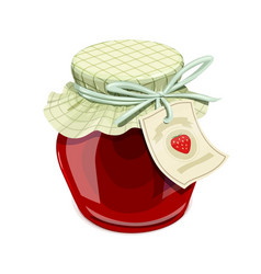 Strawberry jam jar vintage vector