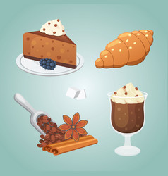 sweet cofee deserts set cake croissant and vector image