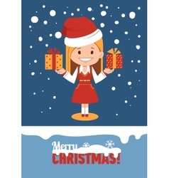 Template of holiday card Merry Christmas card vector image