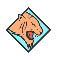 tiger head logotype vector image vector image