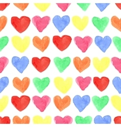 Watercolor colored hearts seamless patternbaby vector