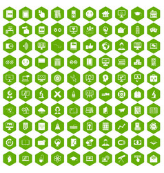 100 e-learning icons hexagon green vector image vector image