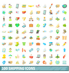 100 shipping icons set cartoon style vector
