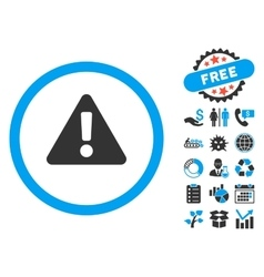 Warning flat icon with bonus vector