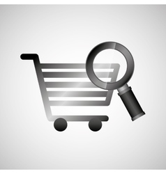 Shiny shopping cart searching online commerce vector