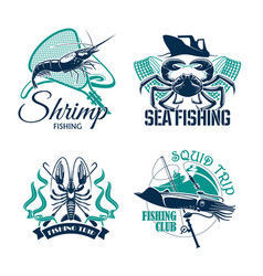Fishing club or trip icons set vector
