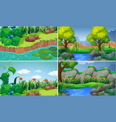 Four scenes with river and trees vector