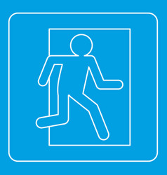 Fire exit sign icon outline vector