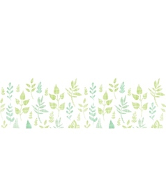 Textile textured spring leaves horizontal border vector