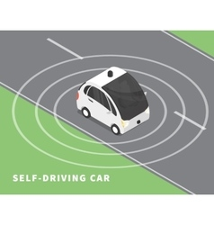 Self-driving car black icon vector image