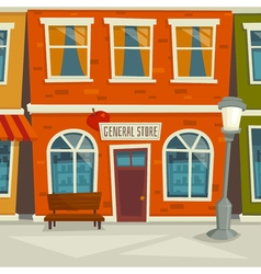 City street background with shop building cartoon vector