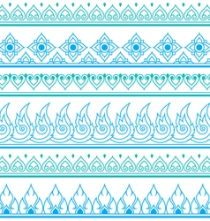 Seamless blue Thai pattern repetitive design vector image
