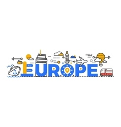 Travel europe word text creative design vector