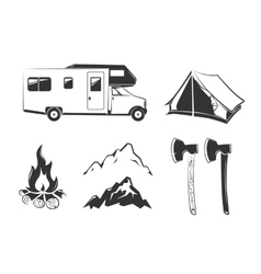 Elements for summer camp outdoors vintage vector