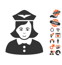 Airline stewardess icon with dating bonus vector