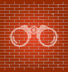 Binocular sign whitish icon vector