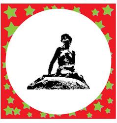 Black 8-bit little mermaid statue in copenhagen vector