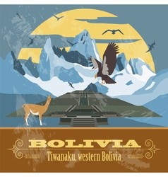 Bolivia landmarks retro styled image vector