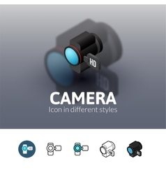 Camera icon in different style vector image