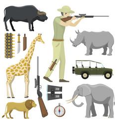 Cartoon hunter aiming rifle africa shotgun with vector