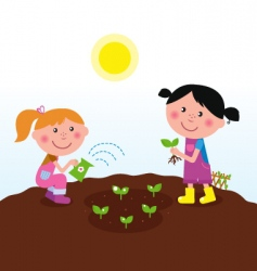 children in garden vector image
