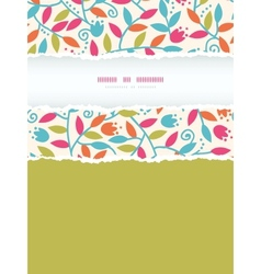 Colorful branches vertical torn frame seamless vector