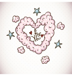 Doodle Card Valentines Day with Heart of Clouds vector image