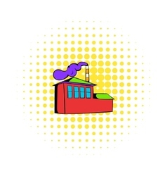 Factory building icon comics style vector image vector image