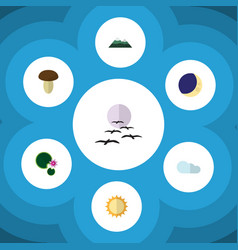 Flat icon ecology set of half moon solar gull vector