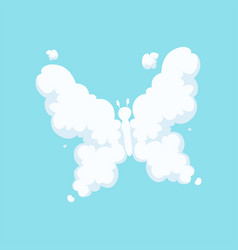 Fluffy cloud in form of flying butterfly with vector