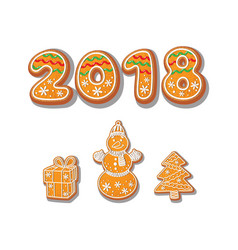 Gingerbread cookies set isolated vector