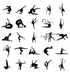Gymnast athlete silhouette set vector