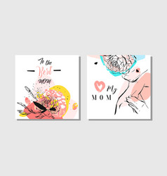 hand drawn abstract greeting cards set with vector image vector image